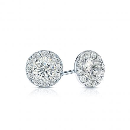 Certified 14k White Gold Halo Round Diamond Stud Earrings 1 00 Ct Tw G H