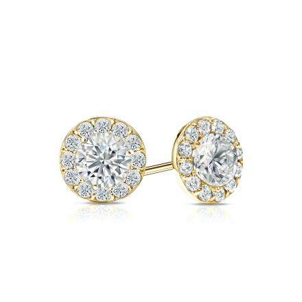 Certified 14k Yellow Gold Halo Round Diamond Stud Earrings 1 00 Ct Tw I J