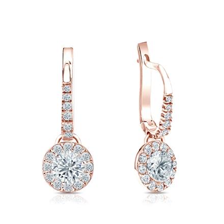 Certified 14k Rose Gold Dangle Studs Halo Round Diamond Earrings 1.00 ct. tw. (I-J, I1-I2)