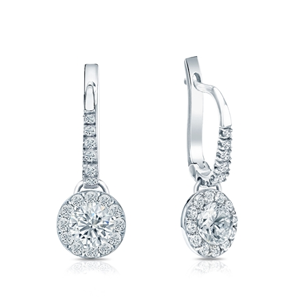Certified 18k White Gold Dangle Studs Halo Round Diamond Earrings 1.00 ct. tw. (G-H, VS1-VS2)