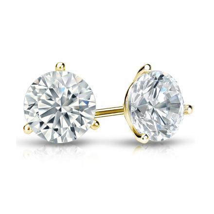 Certified 18k Yellow Gold 3-Prong Martini Round Diamond Stud Earrings 1.25 ct. tw. (I-J, I1-I2)