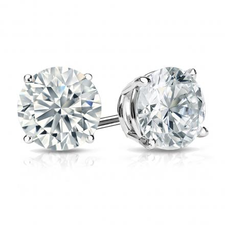 Certified 14k White Gold 4-Prong Basket Round Diamond Stud Earrings 1.50  ct. tw. (G-H 5389d2608