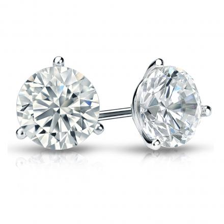 Certified 14k White Gold 3 G Martini Round Diamond Stud Earrings 1 50 Ct Tw