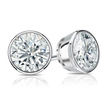 Certified Platinum Bezel Round Diamond Stud Earrings 1.50 ct. tw. (I-J, I1-I2)