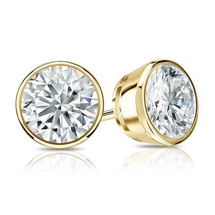 Certified 18k Yellow Gold Bezel Round Diamond Stud Earrings 1.50 ct. tw. (I-J, I1-I2)