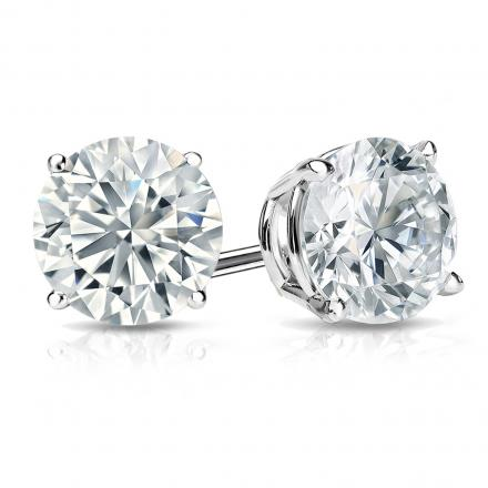 0613c535c Certified 14k White Gold 4-Prong Basket Round Diamond Stud Earrings 1.75 ct.  tw. (I-J, I1) - DiamondStuds.com