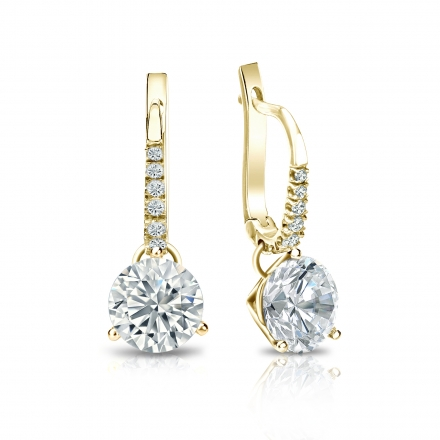 Certified 18k Yellow Gold Dangle Studs 3-Prong Martini Round Diamond Earrings 1.75 ct. tw. (I-J, I1-I2)
