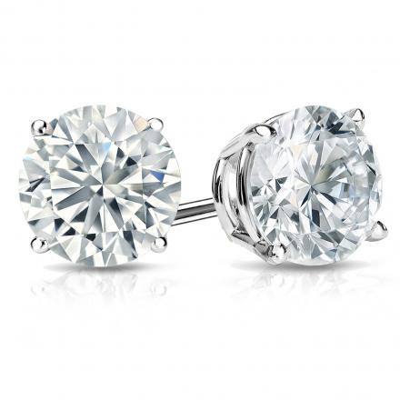Certified 14k White Gold 4-Prong Basket Round Diamond Stud Earrings 2.00 ct. tw. (H-I, I2-I3)
