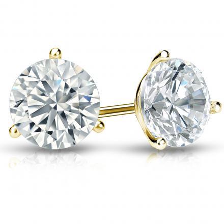 Certified 18k Yellow Gold 3-Prong Martini Round Diamond Stud Earrings 2.00 ct. tw. (I-J, I1-I2)