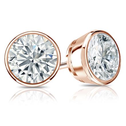 Certified 14k Rose Gold Bezel Round Diamond Stud Earrings 2.00 ct. tw. (G-H, VS2)