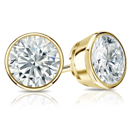 Certified 14k Yellow Gold Bezel Round Diamond Stud Earrings 2.00 ct. tw. (I-J, I1-I2)