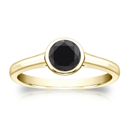 Certified 14k Yellow Gold Bezel Black Diamond Solitaire Ring 0.75 ct. tw.