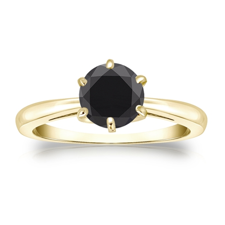 Certified 14k Yellow Gold 6-Prong  Black Diamond Solitaire Ring 1.25 ct. tw.