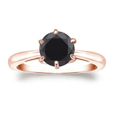 Certified 14k Rose Gold 6-Prong  Black Diamond Solitaire Ring 1.50 ct. tw.