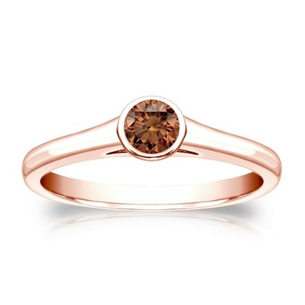 Certified 14k Rose Gold Bezel Round Brown Diamond Ring 0.25 ct. tw. (Brown, SI1-SI2)