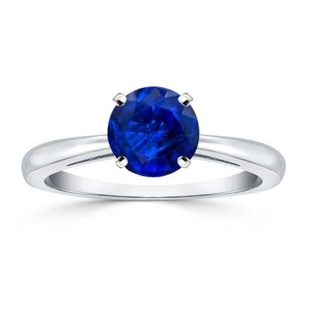 Certified 18k White Gold 4-Prong Round Blue Sapphire Gemstone Ring 0.75 ct. tw. (AAA)
