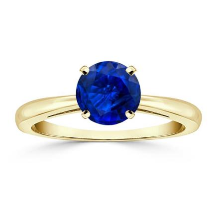 Certified 14k Yellow Gold 4-Prong Round Blue Sapphire Gemstone Ring 0.25 ct. tw. (AAA)