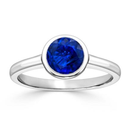Certified 18k White Gold Bezel Round Blue Sapphire Gemstone Ring 0.25 ct. tw. (AAA)