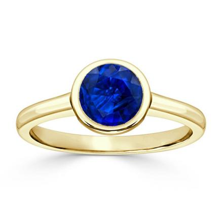 Certified 14k Yellow Gold Bezel Round Blue Sapphire Gemstone Ring 0.25 ct. tw. (AAA)
