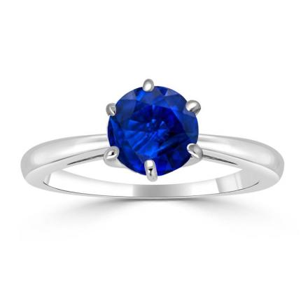 Certified 18k White Gold 6-Prong Round Blue Sapphire Gemstone Ring 0.25 ct. tw. (AAA)