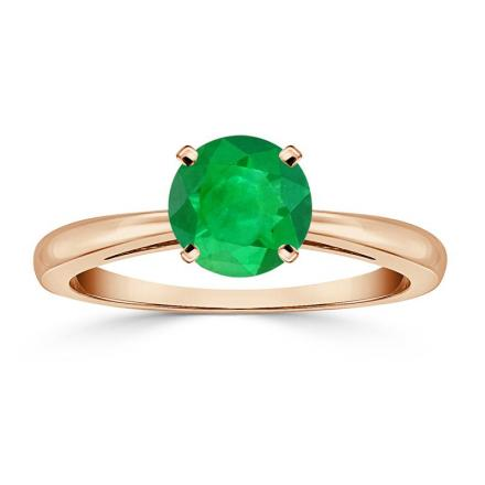Certified 14k Rose Gold 4-Prong Round Green Emerald Gemstone Ring 0.25 ct. tw. (AAA)