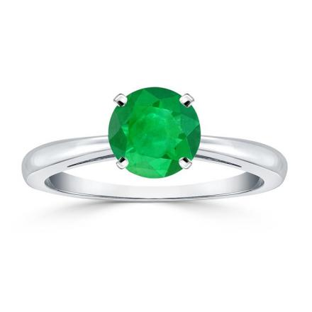 Certified 14k White Gold 4-Prong Round Green Emerald Gemstone Ring 0.25 ct. tw. (AAA)