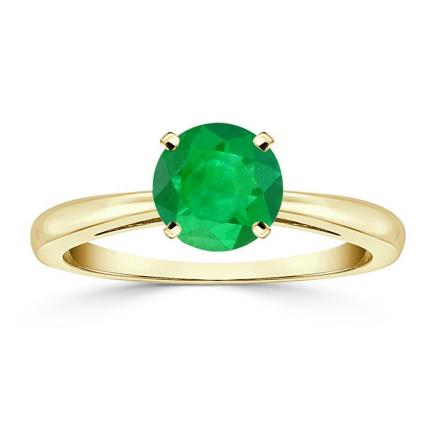 Certified 14k Yellow Gold 4-Prong Round Green Emerald Gemstone Ring 1.00 ct. tw. (AAA)