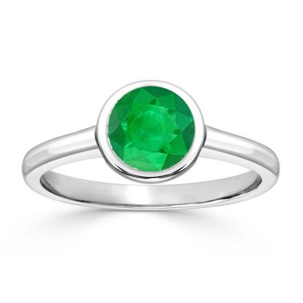Certified Platinum Bezel Round Green Emerald Gemstone Ring 0.50 ct. tw. (AAA)