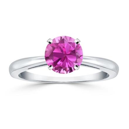 Certified Platinum 4-Prong Round Pink Sapphire Gemstone Ring 0.25 ct. tw. (AAA)
