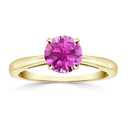 Certified 14k Yellow Gold 4-Prong Round Pink Sapphire Gemstone Ring 0.25 ct. tw. (AAA)