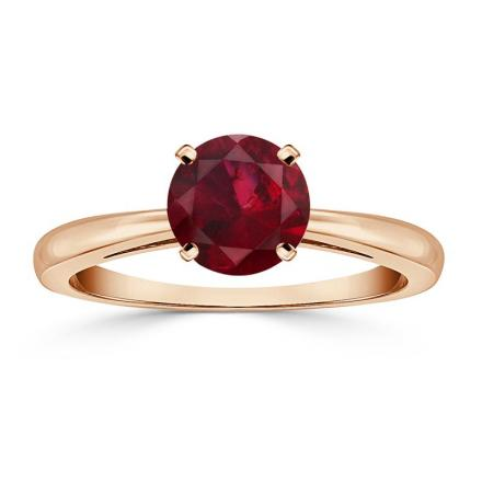 Certified 14k Rose Gold 4-Prong Round Ruby Gemstone Ring 0.25 ct. tw. (AAA)