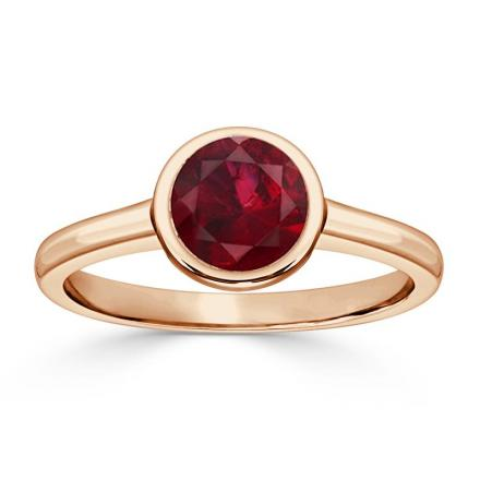Certified 14k Rose Gold Bezel Round Ruby Gemstone Ring 0.75 ct. tw. (AAA)