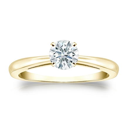 Certified 18k Yellow Gold 4-Prong Hearts & Arrows Diamond Solitaire Ring 0.50 ct. tw. (H-I, I1-I2)
