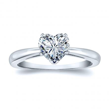 EGL USA Certified 14k White Gold Heart Shape Diamond Solitaire Ring 1.20 ct. tw. (F, SI2)