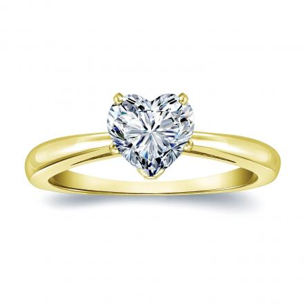 Certified 14k Yellow Gold Heart Shape Diamond Solitaire Ring 0.75 ct. tw. (H-I, SI1-SI2)