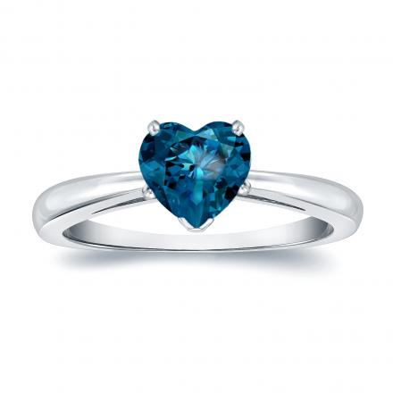 Certified 14k White Gold Heart Shape Blue Diamond Solitaire Ring 1.00 ct. tw. (Blue, SI1-SI2)