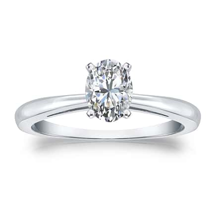 Certified 14k White Gold 4-Prong Oval Diamond Solitaire Ring 0.50 ct. tw. (H-I, I1)