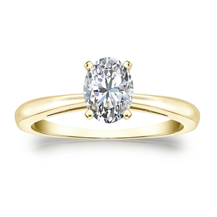 b8f19320aba229 Certified 18k Yellow Gold 4-Prong Oval Diamond Solitaire Ring 0.75 ct. tw. ( G-H, VS2) - DiamondStuds.com
