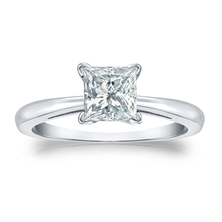 Certified 14k White Gold 4-Prong Princess Diamond Solitaire Ring 1.00 ct. tw. (H-I, I2-I3)