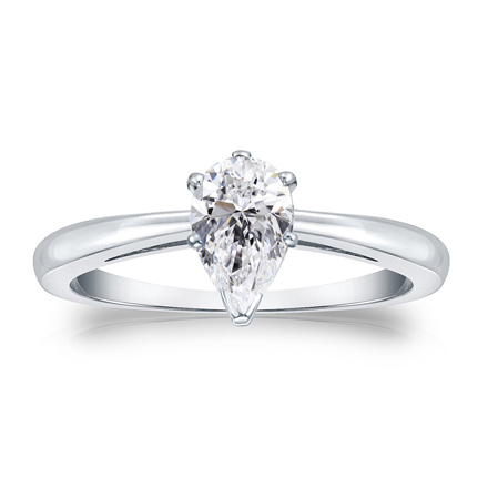 f61a394b02ca0 Certified 14k White Gold V-End Prong Pear Diamond Solitaire Ring 0.50 ct.  tw. (G-H, VS1-VS2)