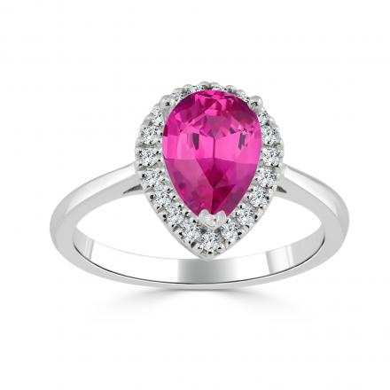 Certified 14k White Gold Pear Shape Pink Sapphire Halo Ring 1 1/6 ct. tw. (Pink, AAA)