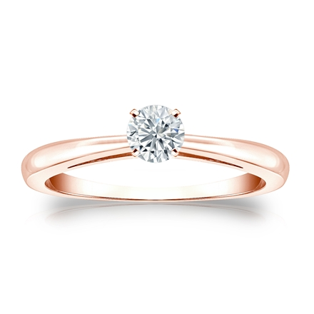 Certified 14k Rose Gold 4-Prong Round Diamond Solitaire Ring 0.25 ct. tw. (I-J, I1-I2)