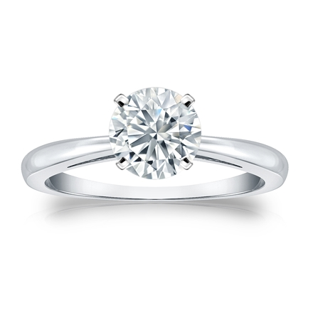 Certified 14k White Gold 4-Prong Round Diamond Solitaire Ring 1.00 ct. tw. (H-I, I2-I3)