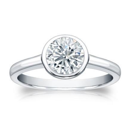 Certified 14k White Gold Bezel Round Diamond Solitaire Ring 1.00 ct. tw. (G-H, VS1-VS2)