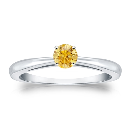 Certified 14k White Gold 4-Prong Yellow Diamond Solitaire Ring 0.25 ct. tw. (Yellow, SI1-SI2)