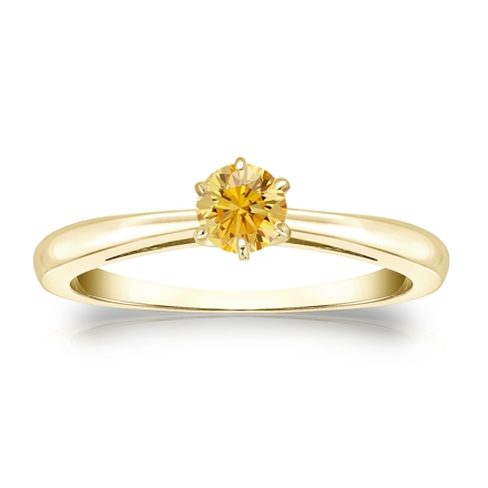 Certified 18k Yellow Gold 6-Prong Yellow Diamond Solitaire Ring 0.25 ct. tw. (Yellow, SI1-SI2)
