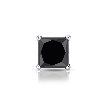 Certified Platinum 4-Prong Martini Princess Black Diamond Single Stud Earring1.00 ct. tw.