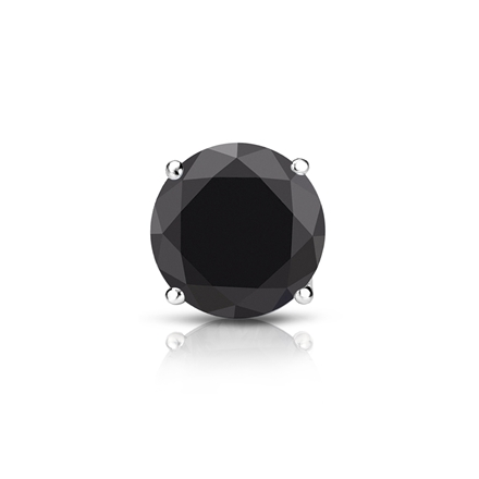 Certified 14k White Gold 4-Prong Basket Round Black Diamond Single Stud Earring1.00 ct. tw.