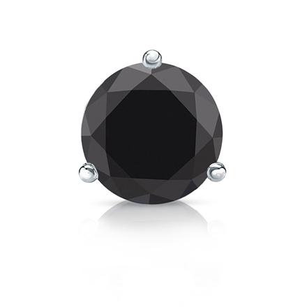 5895fbd0b Certified 14k White Gold 3-Prong Martini Round Black Diamond Single Stud  Earring 2.00 ct. tw. - DiamondStuds.com