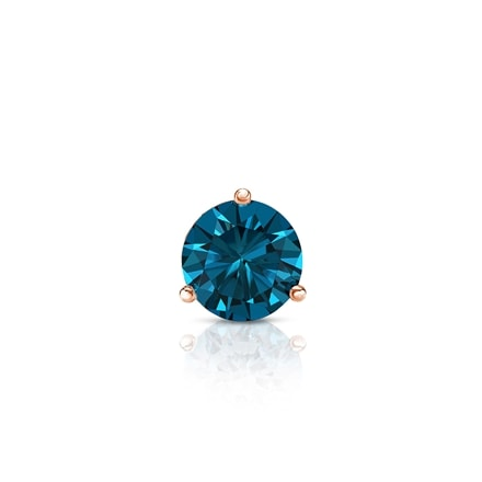 Certified 14k Rose Gold 3-Prong Martini Round Blue Diamond Single Stud Earring 0.25 ct. tw. (Blue, I1-I2)